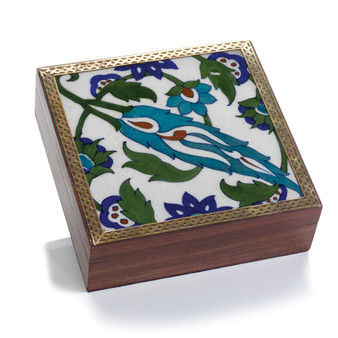 beautiful blue tile decorative box