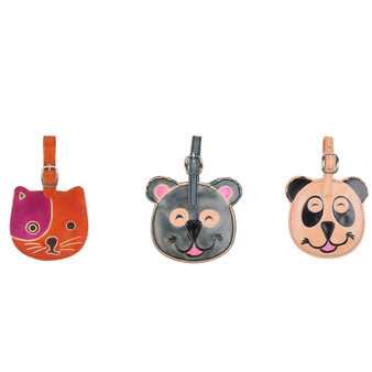 leather animal luggage tags