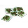 hand painted art glass holiday holly berry coasters
