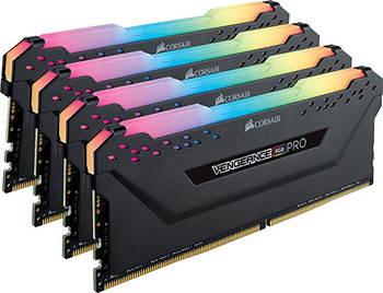 CORSAIR CMW32GX4M4C3200C16 DDR4, 3200MHZ 32GB 4 X 288 DIMM, UNBUFFERED, VENGEANCE RGB PRO BLACK HEAT SPREADER, RGB LED, 1.35V
