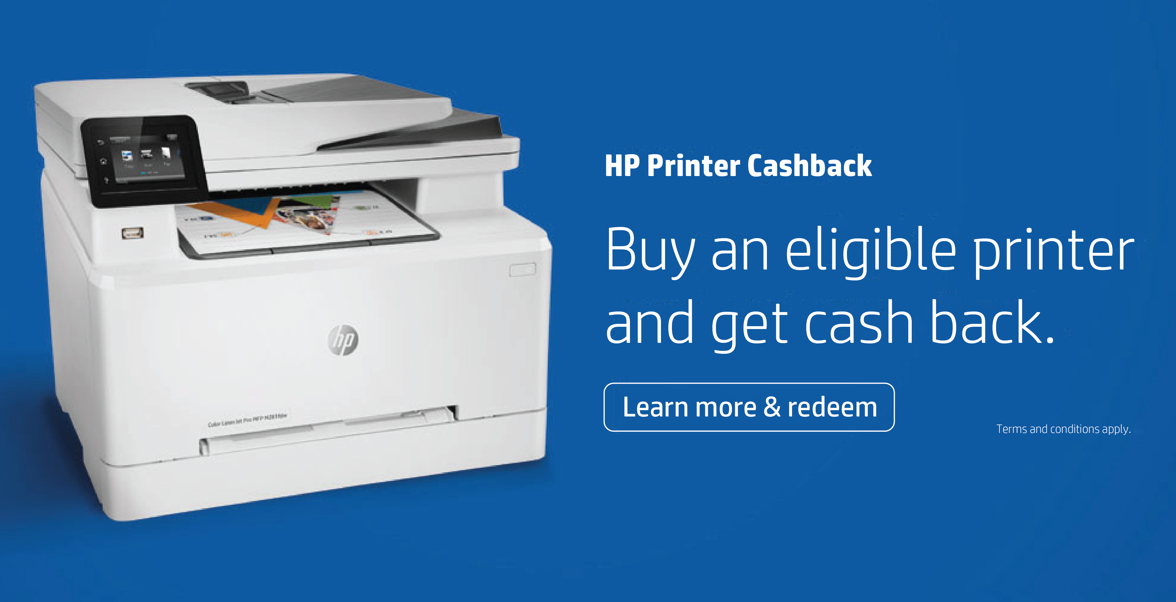 Buy an eligible HP printer and get cash back
