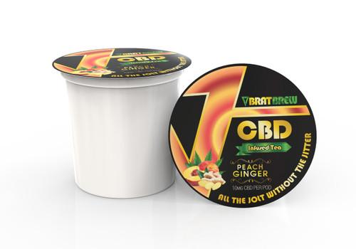 BratBrew: Peach Ginger Flavor: CBD Infused Tea Pod