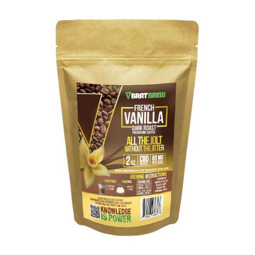 BratBrew 60MG CBD Infused Coffee-French Vanilla Dark Roast (2oz Bag)