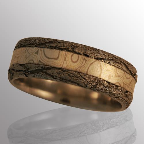 Palladium ring with Mokume Gane (gold, silver and palladium).  8.2mm wide.
