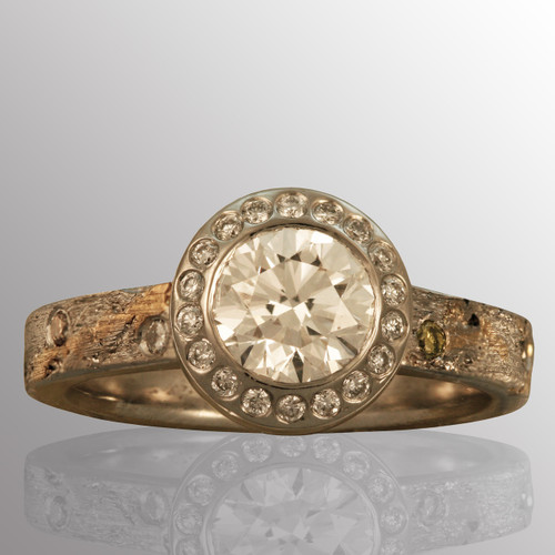 18K yellow gold and platinum ring with 1.2ct. diamond..