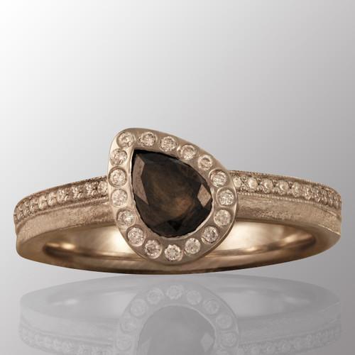 Platinum ring with 0.6ct. rose cut center diamond and 30pt. side diamonds.