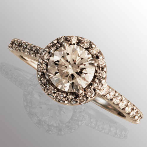 18K white gold engagement ring with 1ct. diamond
