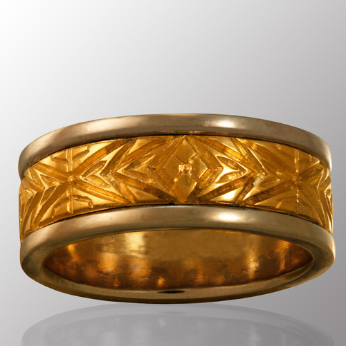 18K yellow gold and platinum ring.  8mm wide.
