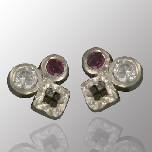 14K white gold stud earrings with 1/5ct. diamond and amethyst.  5.5X5.5mm.