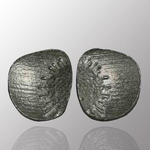 Silver stud earrings.  12X13.8mm.