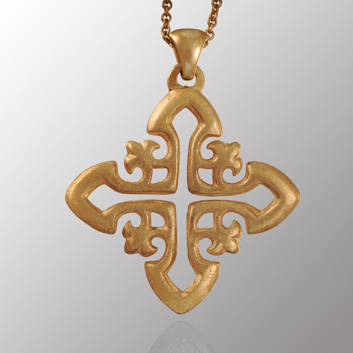 Sterling silver cross pendant with 22in. adjustable chain.  33X38mm.