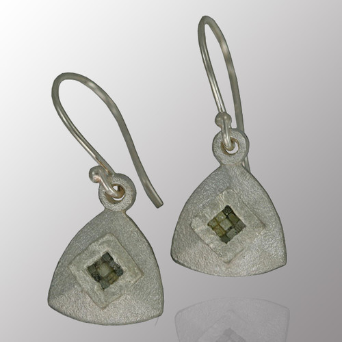 Silver drop earrings with 10pt. raw diamond.