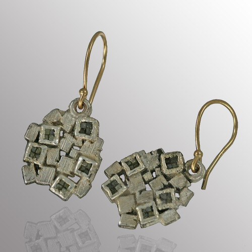 Silver drop earrings with 18K French wire and 7pt. diamond.  12X13mm.