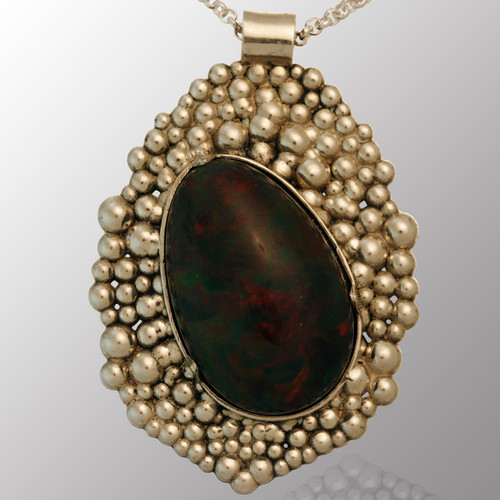 Sterling silver bubble pendant with 130ct. Ethiopian pearl.   30X40mm.