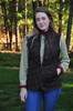 Woman's S-XL Our TROSSACH jacket and vests are crafted of waxed Buffalo newbuck in antique brown which highlights the buffalo's patinas.  Stand up collar, diamond quilting, three zippered outer and two interior pockets.  Functional rear carry-all zippered pocket.  Perfection in the field or on the town.