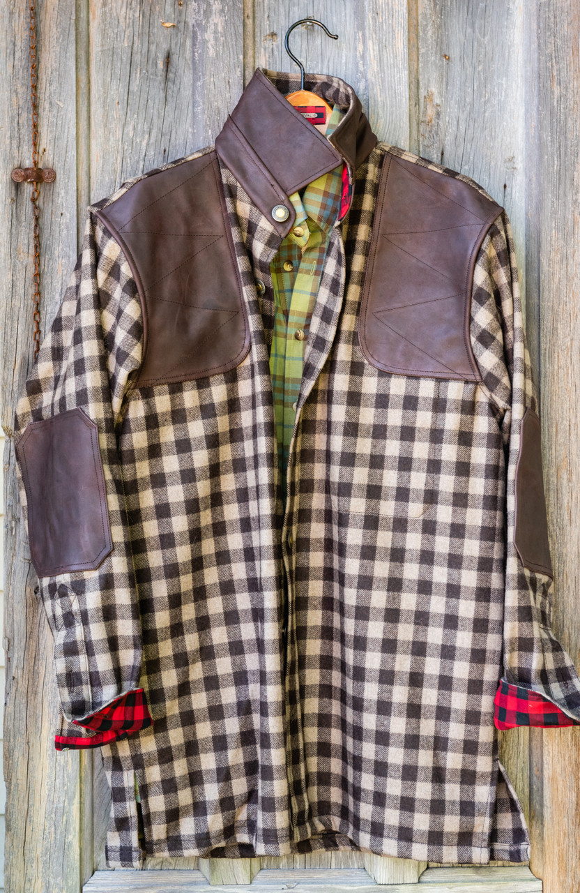 Grand Uplander Wool JacShirt - Tan & Brown Check