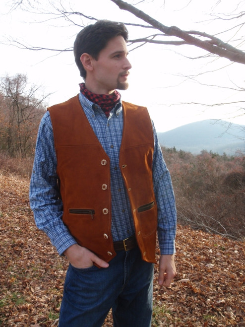 Litchfield Buffalo Nubuck Vest - Rusted Brown
