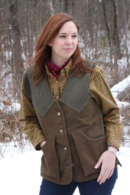 Women's Artemis Nubuck Buffalo Vest - Brown