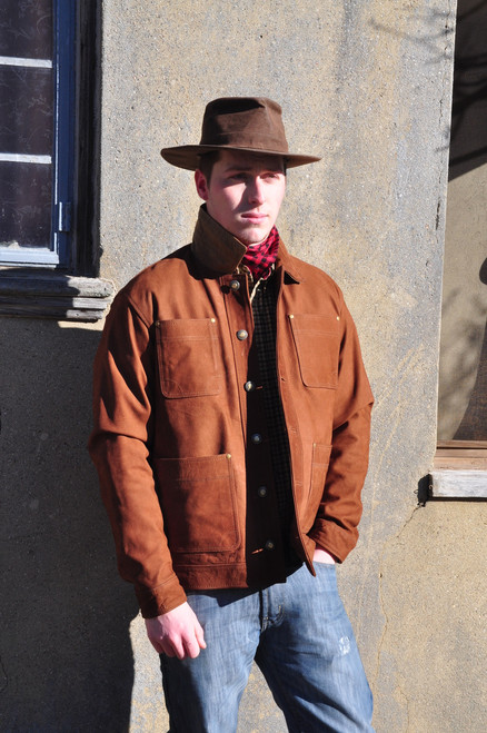 Crofters Jacket - Brown Nubuck Buffalo Leather