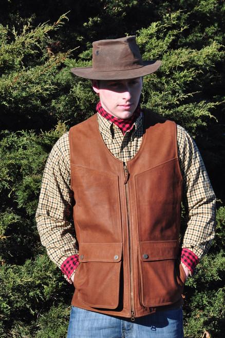 Waxed Buffalo Leather Gladwin Vest - Chestnut