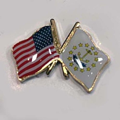 United State and Rhode Island Flag Pin