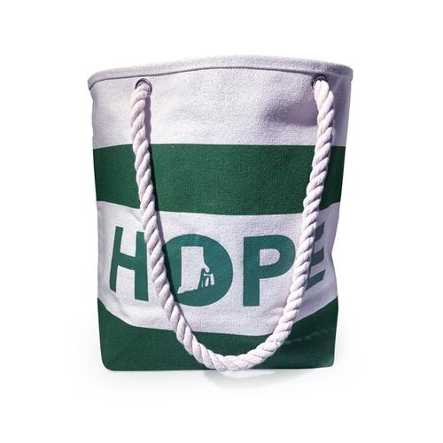 """Hope"" Tote Bag in Green"