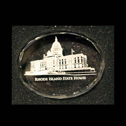 Optical Crystal Paperweight - State House