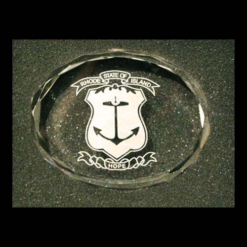 Optical Crystal Paperweight- State Seal