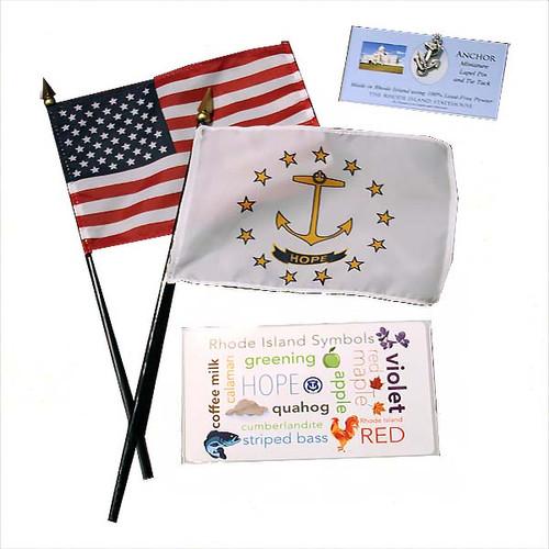1 Small American Flag,  1 Small Rhode Island Flag,  1 Rhode Island Symbols Sticker &  1 Anchor pin.