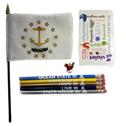 1 Rooster Pin,  5 Pencils,  1 Rhode Island Symbols Sticker &  1 Rhode Island Flag.