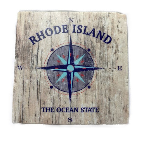Rhode Island Compass on Driftwood