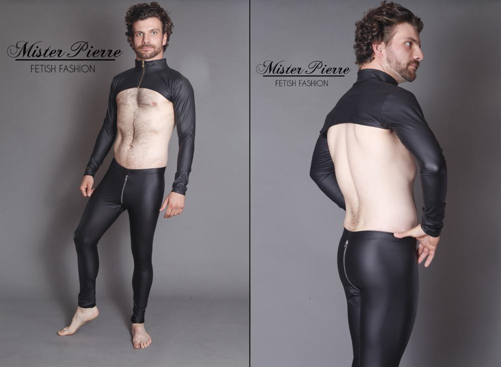 Quarter Jacket by Mister Pierre  Designed for access to the back, chest and nipples this quarter jacket features a catsuit style collar and separating front zipper or rear zipper. Wearing this garment carries with it implied ownership. It accentuates a well defined chest for appreciation or exposes the wearer for nipple play, fire cupping or impact play. It is configurable to the wearer and available in short or tall collar as well as short or long sleeve.  Featured in this image:  Matte Black Vinyl, faux leather or rubber look, 4-way stretch. No Gloss or surface shine, though available in all fabrics. 2 inch collar separating zipper Long Sleeve