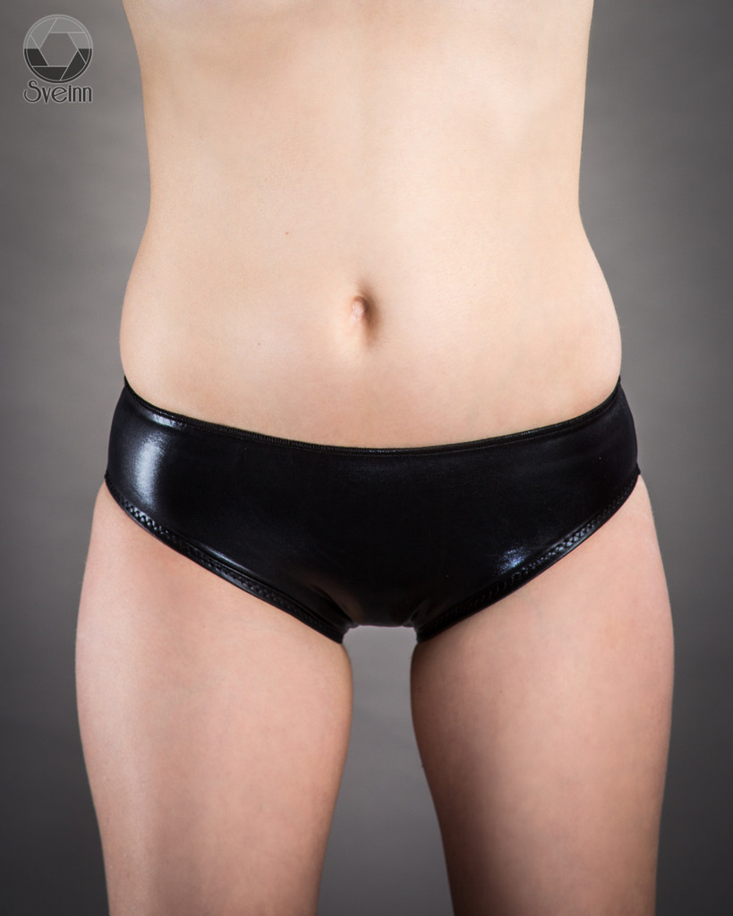 Custom panties by Mister Pierre shown in black vinyl/PVC