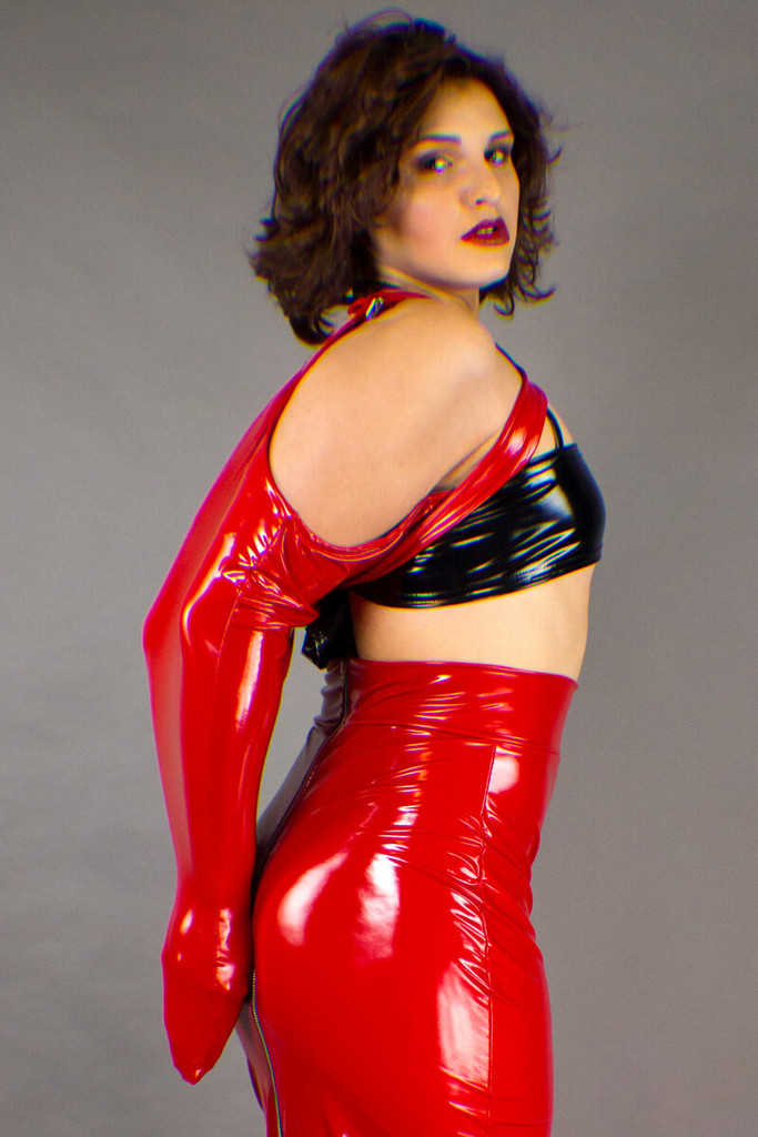 Glossy Vinyl Fetish Arm Binders presented by a female model