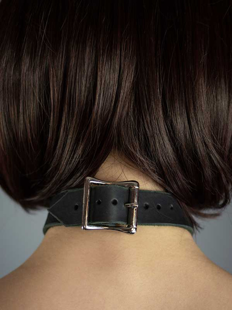 Leather Hoop  Ring Collar
