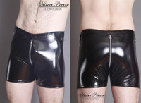 Crotch Zipper Shorts With Side D-Rings From Mister Pierre  These sexy skin-tight shorts leave little to the imagination, with a two-slider zipper that provides easy access to the front and rear.  D-rings on the side allow for restraining the wrists as well as clipping essential tools to the waistband.  Featured in this image:  D-Rings at side center of waistband Two-slider Crotch Zipper (Aluminum on black) Gloss Black 4-way stretch vinyl (Available in all fabrics)