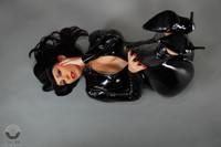 custom made gloss black latex fetish catsuit. vinyl spandex bodysuit with crotch zipper