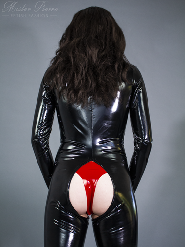 Crotchless Front Zipper Catsuit