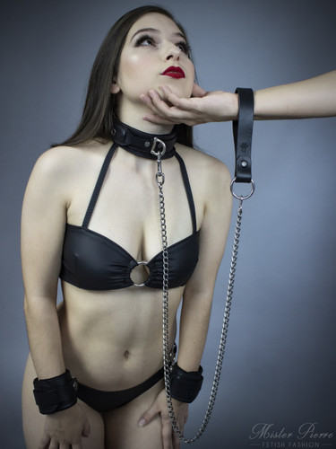 Leather Grip Chain Leash