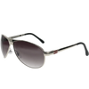 Shiny Silver Frame Gray Gradient Lens Red PUGS Logo Angled