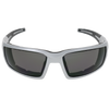 Shiny Silver Frame Shiny Silver- Black Rubber Tips Smoke Flash Mirror Lens
