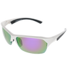 Shiny White Black Rubber Frame Purple Multi-Mirror Lens