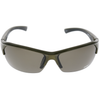 Shiny Green-Grey Black Rubber Frame Brown Mirror Lens