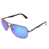 Shiny Gunmetal Frame Black Tips Blue Stamp Blue Multi-Mirror Lens