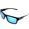 Matte Black frame w Splash temple Ice Blue Mirror lens
