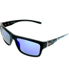 Matte Black frame w Splash temple Blue Mirror lens