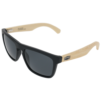 Matte Black Frame Natural Bamboo Temple Smoke Lens