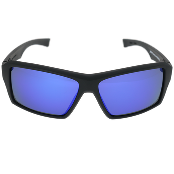Matte Black Frame Matte Black-Blue Stripe Pattern Blue Multi Mirror Lens
