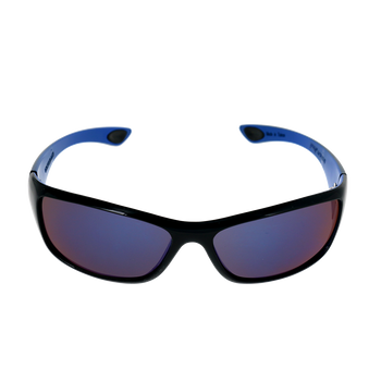 Rounded Rectangle- Shiny Black- Blue frame Blue Mirror lens