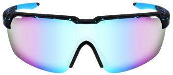 Black/Blue Splatter, Ice Blue Multi-Mirror lens